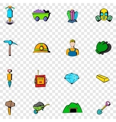 Mining set icons vector image