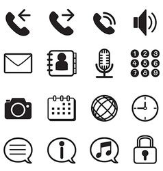 Mobile phone smartphone application icons set vector