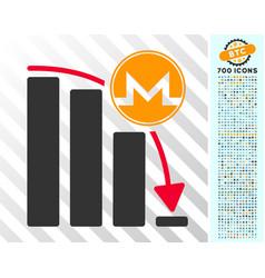 monero panic fall chart flat icon with bonus vector image