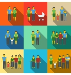 Multigenerational family flat long shadow icons vector
