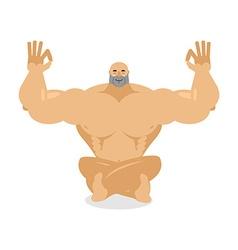 Muscled meditating Bodybuilder on white background vector