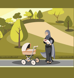 Muslim mother walking with kid in park vector
