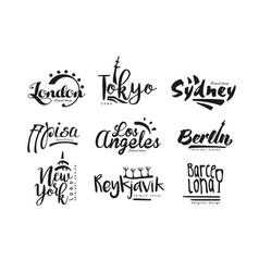 Names cities london tokyo sydney pisa los vector