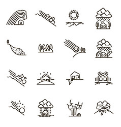 natural disaster signs black thin line icon set vector image