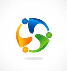 people group teamwork circle logo vector image