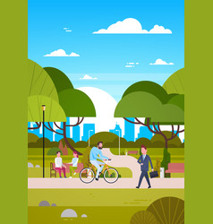 People outdoors in modern park sit on bench vector