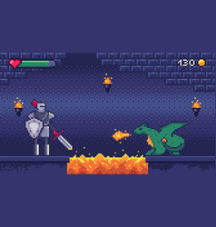 pixel art game level hero warrior fights 8 bit vector image