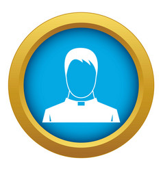 Priest icon blue isolated vector