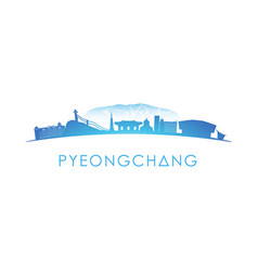 pyeongchang skyline silhouette design on white vector image