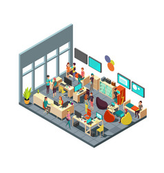 Relaxed creative people meeting in room interior vector