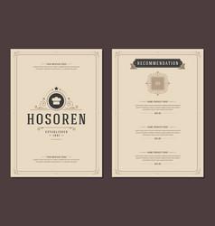 restaurant logo and menu cover design vector image