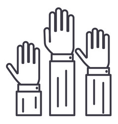 Rightsthree hands up line icon sig vector