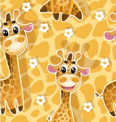 Seamless background with babies giraffes vector image vector image