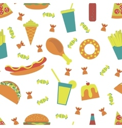Seamless pattern fast food menu vector