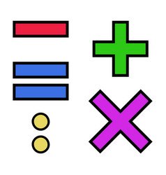 Set colorful arithmetic signs add vector