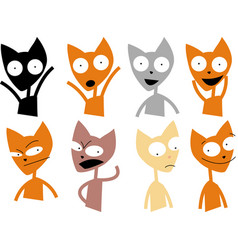 set cute cat character with various emotions vector image