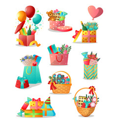 set different colorful gift boxes or basket vector image