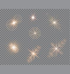 Set glare lighting twinkle lens flares vector