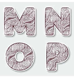 Set of capital letters m n o p from vector
