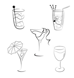 Set of cocktails and wines vector image