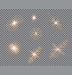 Set of glare lighting twinkle lens flares vector