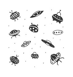 Set of hand drawing ufo flying saucer vector