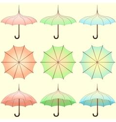 Set of vintage colored umbrellas vector image