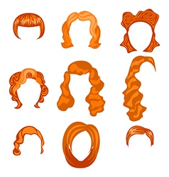 set with different hairstyles Redhead hand-drawn vector image