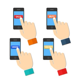Shop Hand Hold Touch Screen on Mobile Phone vector image