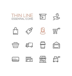 Shopping and Delivery Symbols - thick line design vector image