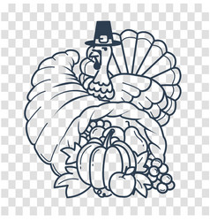 silhouette thanksgiving day cornucopia vector image