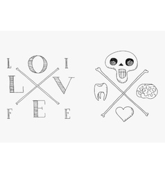 Skull with brain tooth and heart vector