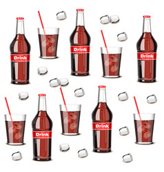 Soda drink bottle and glass pattern summer vector