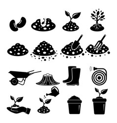 Soil icon set vector