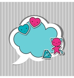 Speech bubble with sticker kawaii doodles vector image
