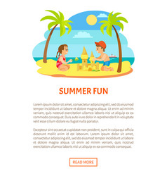 summer fun children on beach making sand castle vector image