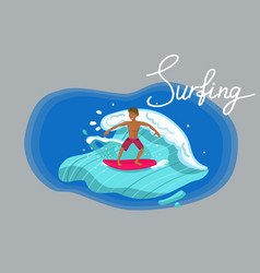 surfer riding wave with red board image vector image