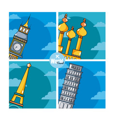 Travel and discover europe on colorful frames vector