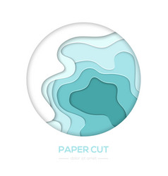 turquois abstract layout - paper cut banner vector image