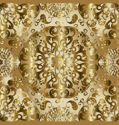 vintage gold 3d paisley seamless pattern vector image