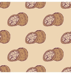 Walnut seamless pattern vector image
