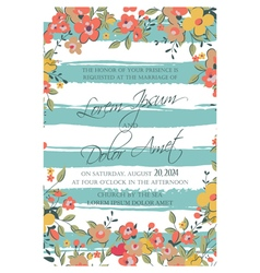 Wedding card flowers and blue stripes vector