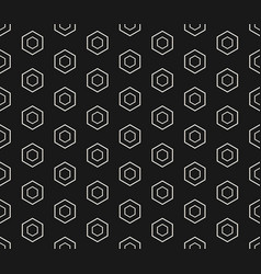 white linear hexagons on black background pattern vector image