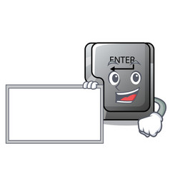 with board button enter in shape mascot vector image