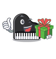 With gift piano mascot cartoon style vector