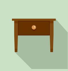 wood nightstand icon flat style vector image