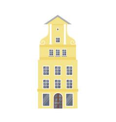 yellow european style classic building facade vector image