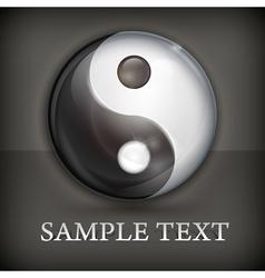 Yin yang symbol on black vector image