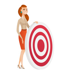 young business woman and dart board vector image