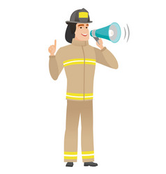 young caucasian firefighter making announcement vector image